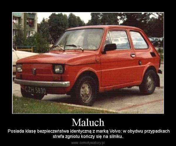 Maluch –  Posiada klasę bezpieczeństwa identyczną z marką Volvo: w obydwu przypadkachstrefa zgniotu kończy się na silniku.