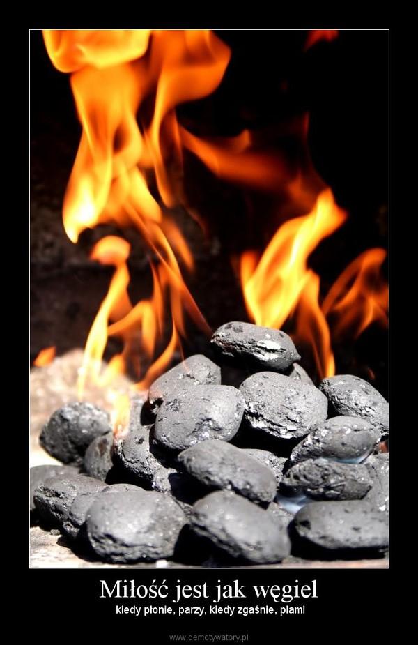 Miłość jest jak węgiel –  kiedy płonie, parzy, kiedy zgaśnie, plami