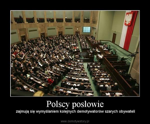 Polscy posłowie –  zajmują się wymyślaniem kolejnych demotywatorów szarych obywateli