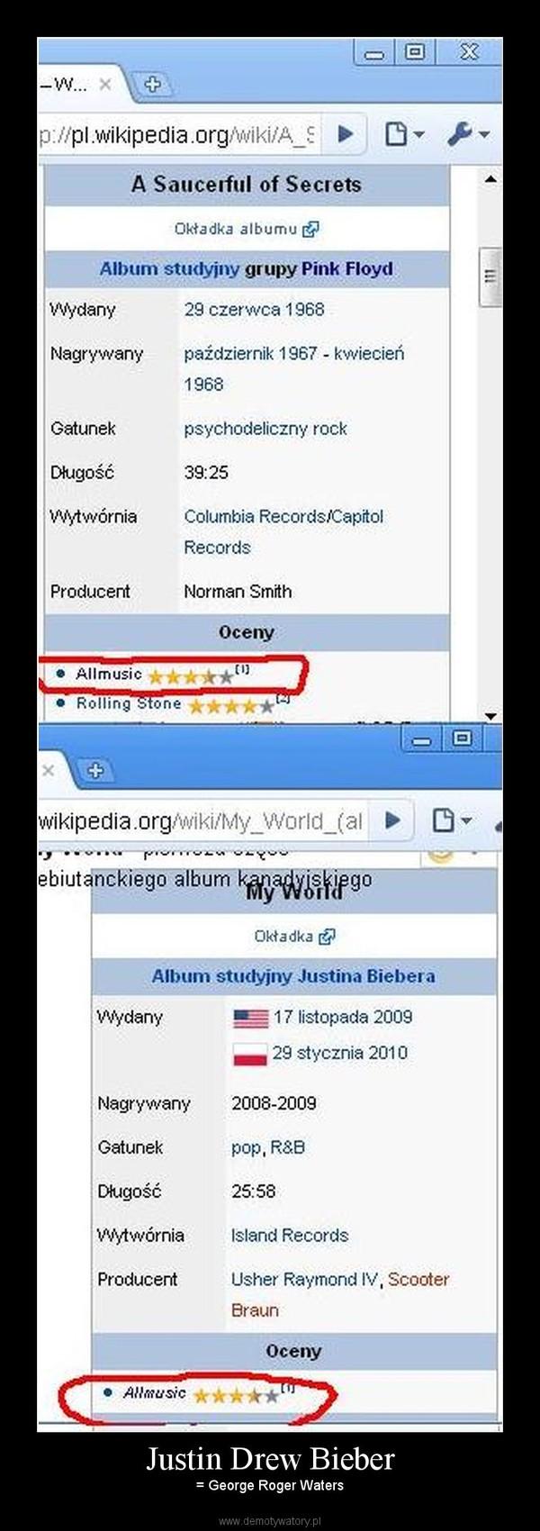 Justin Drew Bieber –  = George Roger Waters