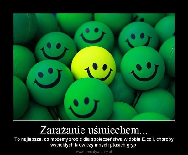 Zarażanie uśmiechem... – To najlepsze, co możemy zrobić dla społeczeństwa w dobie E.coli, chorobywściekłych krów czy innych ptasich gryp.
