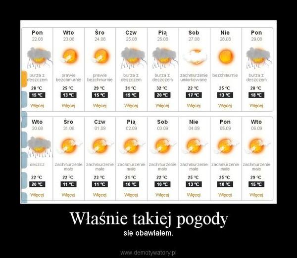 Właśnie takiej pogody – się obawiałem.