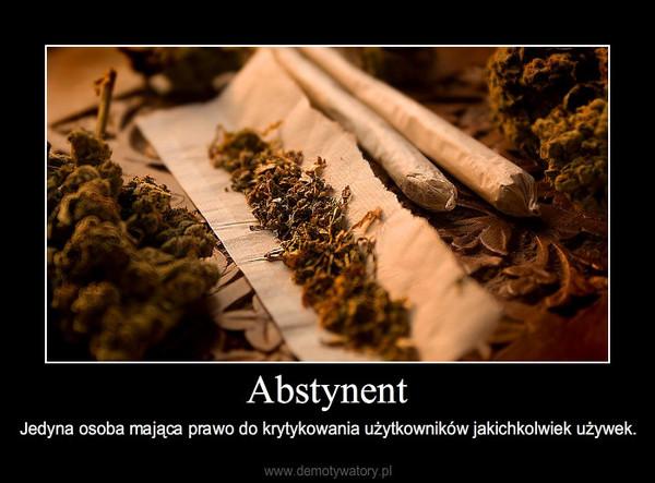 Abstynent – Jedyna osoba mająca prawo do krytykowania użytkowników jakichkolwiek używek.