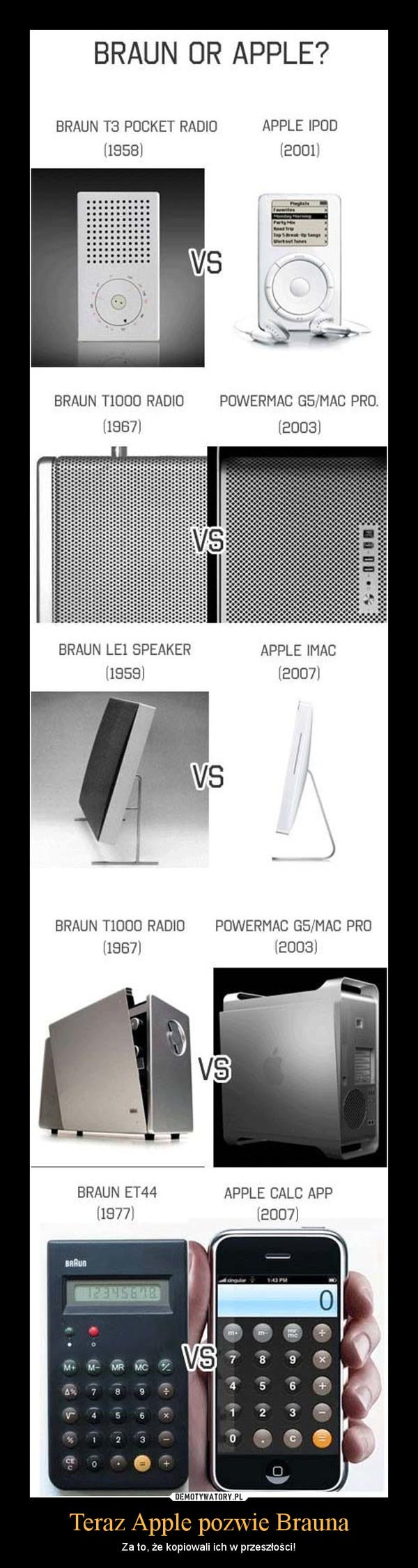 Teraz Apple pozwie Brauna – Za to, że kopiowali ich w przeszłości!