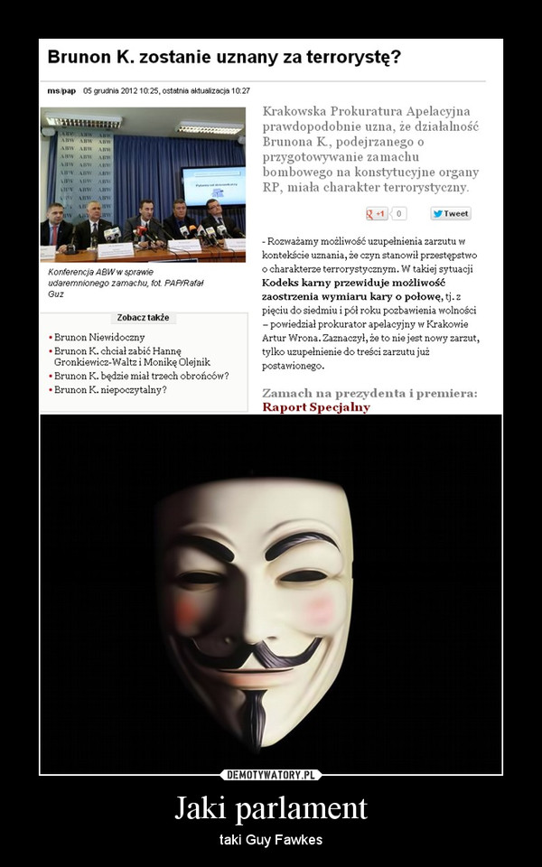 Jaki parlament – taki Guy Fawkes