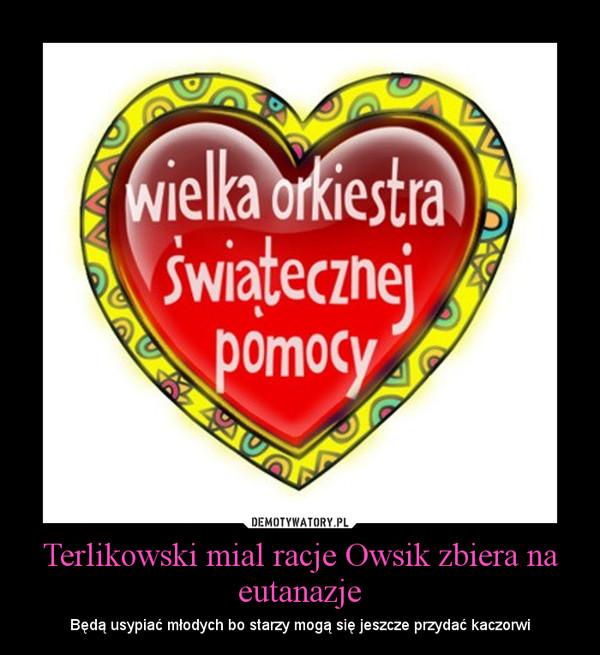 Terlikowski mial racje Owsik zbiera na eutanazje – Będą usypiać młodych bo starzy mogą się jeszcze przydać kaczorwi