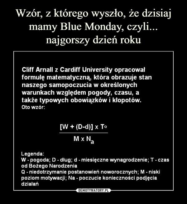 """–  Wzór, z którego wyszło, że dzisiaj mamy Blue Monday, czyli... najgorszy dzień roku Cliff Arnall z Cardiff University opracował formułę matematyczną, która obrazuje stan naszego samopoczucia w określonych warunkach względem pogody, czasu, a także typowych obowiązków i kłopotów. Oto wzór [W + (D-d)] x T"""" IV1 x Na Legenda: W - pogoda; D - dług; d - miesięczne wynagrodzenie; T - czas od Bożego Narodzenia Q - niedotrzymanie postanowień noworocznych; M - niski poziom motywacji; Na - poczucie konieczności podjęcia działań"""