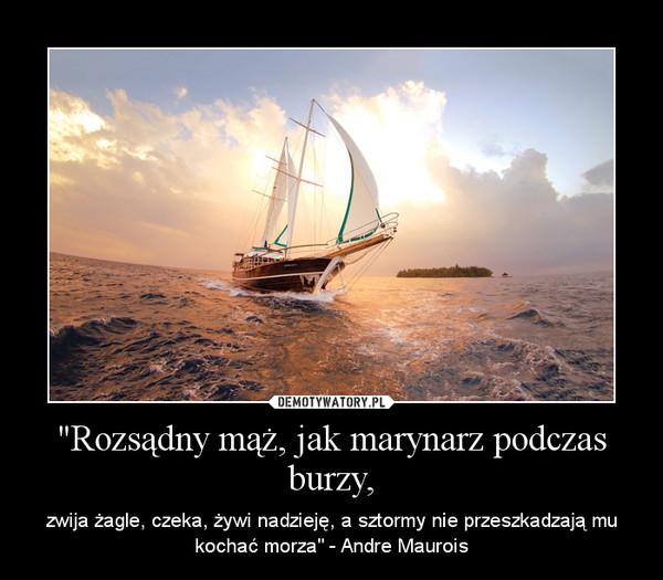 """""""Rozsądny mąż, jak marynarz podczas burzy, – zwija żagle, czeka, żywi nadzieję, a sztormy nie przeszkadzają mu kochać morza"""" - Andre Maurois"""