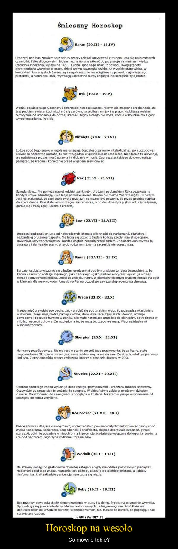 Horoskop na wesoło – Co mówi o tobie?