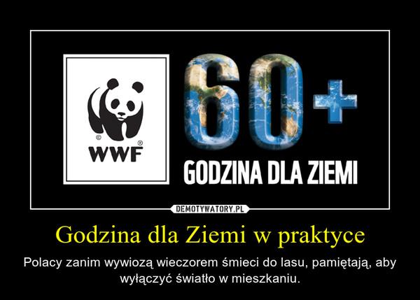 Godzina dla Ziemi w praktyce – Polacy zanim wywiozą wieczorem śmieci do lasu, pamiętają, aby wyłączyć światło w mieszkaniu.
