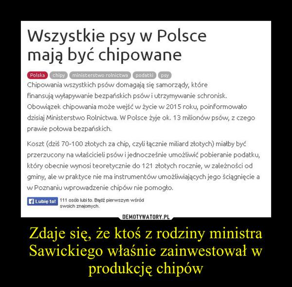 Zdaje się, że ktoś z rodziny ministra Sawickiego właśnie zainwestował w produkcję chipów –