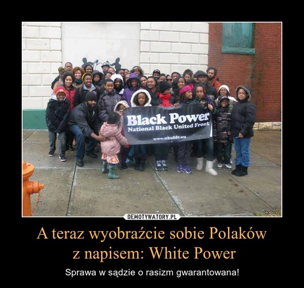 A teraz wyobraźcie sobie Polaków z napisem: White Power – Sprawa w sądzie o rasizm gwarantowana!