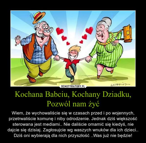 Kochana Babciu, Kochany Dziadku, Pozwól nam żyć – Wiem, że wychowaliście się w czasach przed i po wojennych, przetrwaliście komunę i niby odrodzenie. Jednak dziś większość sterowana jest mediami.. Nie daliście omamić się kiedyś, nie dajcie się dzisiaj. Zagłosujcie wg waszych wnuków dla ich dzieci.. Dziś oni wybierają dla nich przyszłość ..Was już nie będzie!