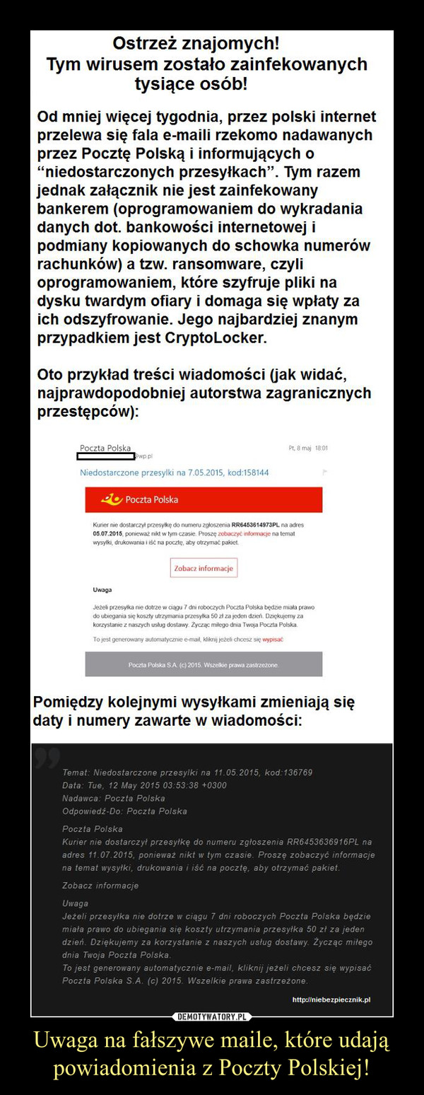 Uwaga na fałszywe maile, które udają powiadomienia z Poczty Polskiej! –