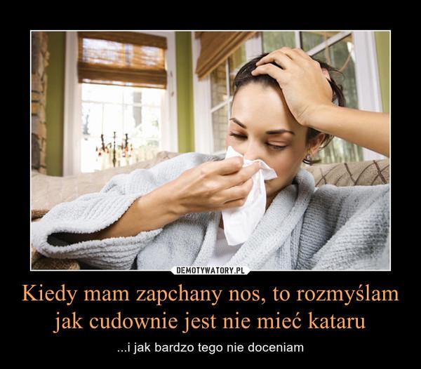 Kiedy mam zapchany nos, to rozmyślam jak cudownie jest nie mieć kataru – ...i jak bardzo tego nie doceniam
