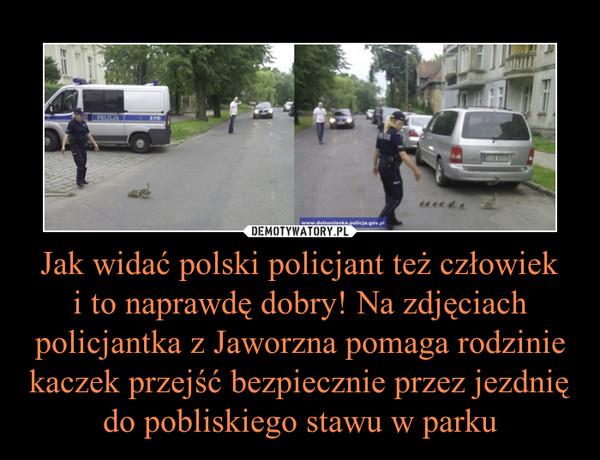 Jak widać polski policjant też człowieki to naprawdę dobry! Na zdjęciach policjantka z Jaworzna pomaga rodzinie kaczek przejść bezpiecznie przez jezdnię do pobliskiego stawu w parku –