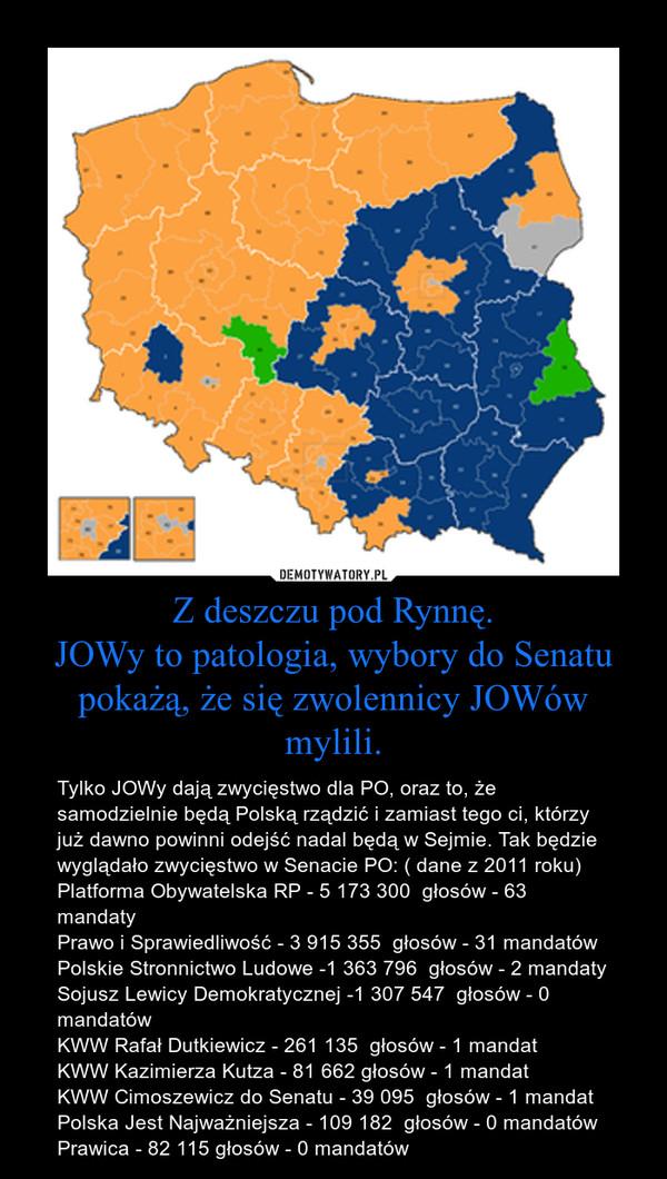 Z deszczu pod Rynnę.JOWy to patologia, wybory do Senatu pokażą, że się zwolennicy JOWów mylili. – Tylko JOWy dają zwycięstwo dla PO, oraz to, że samodzielnie będą Polską rządzić i zamiast tego ci, którzy już dawno powinni odejść nadal będą w Sejmie. Tak będzie wyglądało zwycięstwo w Senacie PO: ( dane z 2011 roku)Platforma Obywatelska RP - 5 173 300  głosów - 63 mandatyPrawo i Sprawiedliwość - 3 915 355  głosów - 31 mandatówPolskie Stronnictwo Ludowe -1 363 796  głosów - 2 mandatySojusz Lewicy Demokratycznej -1 307 547  głosów - 0 mandatówKWW Rafał Dutkiewicz - 261 135  głosów - 1 mandatKWW Kazimierza Kutza - 81 662 głosów - 1 mandatKWW Cimoszewicz do Senatu - 39 095  głosów - 1 mandatPolska Jest Najważniejsza - 109 182  głosów - 0 mandatówPrawica - 82 115 głosów - 0 mandatów
