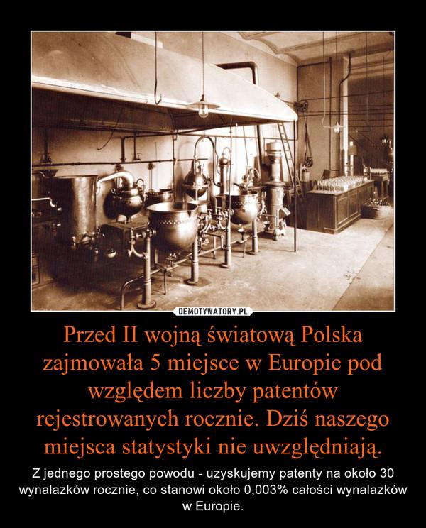 Przed II wojną światową Polska zajmowała 5 miejsce w Europie pod względem liczby patentów rejestrowanych rocznie. Dziś naszego miejsca statystyki nie uwzględniają. – Z jednego prostego powodu - uzyskujemy patenty na około 30 wynalazków rocznie, co stanowi około 0,003% całości wynalazków w Europie.