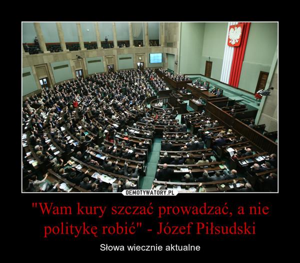 """""""Wam kury szczać prowadzać, a nie politykę robić"""" - Józef Piłsudski – Słowa wiecznie aktualne"""