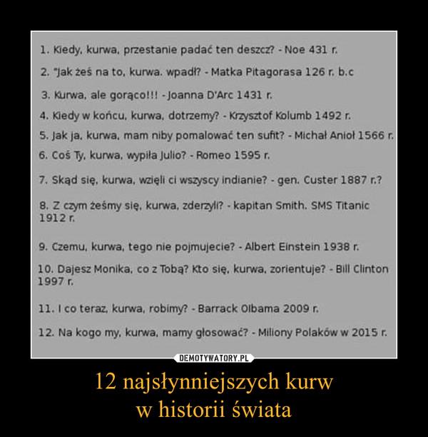 12 najsłynniejszych kurww historii świata –