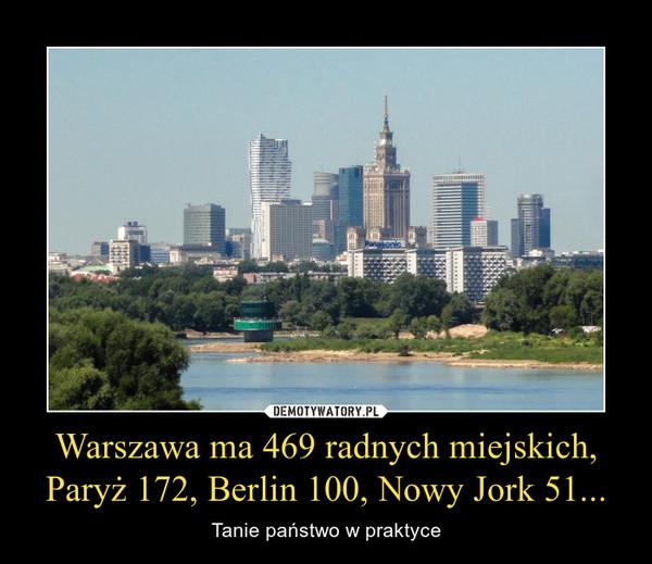 Warszawa ma 469 radnych miejskich,Paryż 172, Berlin 100, Nowy Jork 51... – Tanie państwo w praktyce
