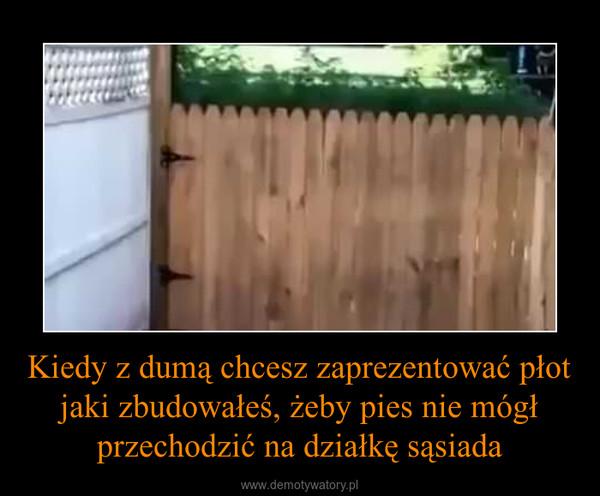 Kiedy z dumą chcesz zaprezentować płot jaki zbudowałeś, żeby pies nie mógł przechodzić na działkę sąsiada –