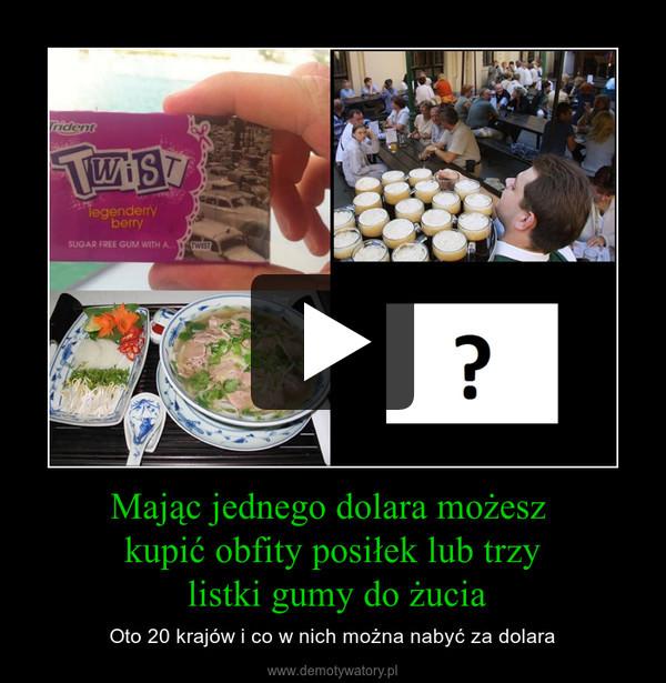 Mając jednego dolara możesz kupić obfity posiłek lub trzy listki gumy do żucia – Oto 20 krajów i co w nich można nabyć za dolara
