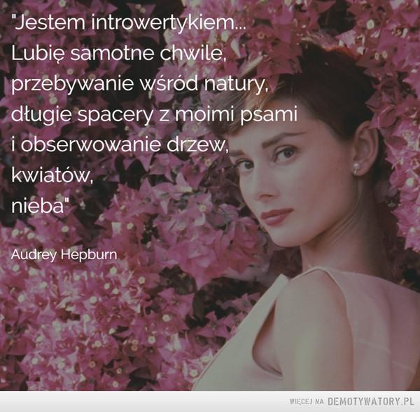 """Audrey Hepburn –  """"Jestem introwertykiem...Lubię samotne chwile,przebywanie wśród natury,długie spacery z moimi psamii obserwowanie drzew,kwiatów,nieba"""""""