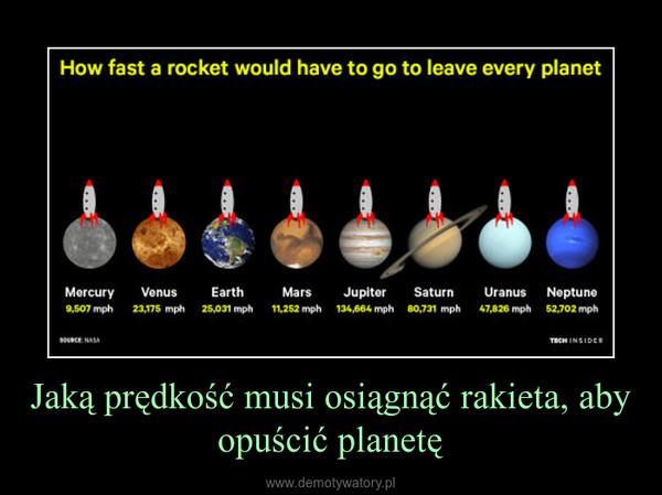 Jaką prędkość musi osiągnąć rakieta, aby opuścić planetę –