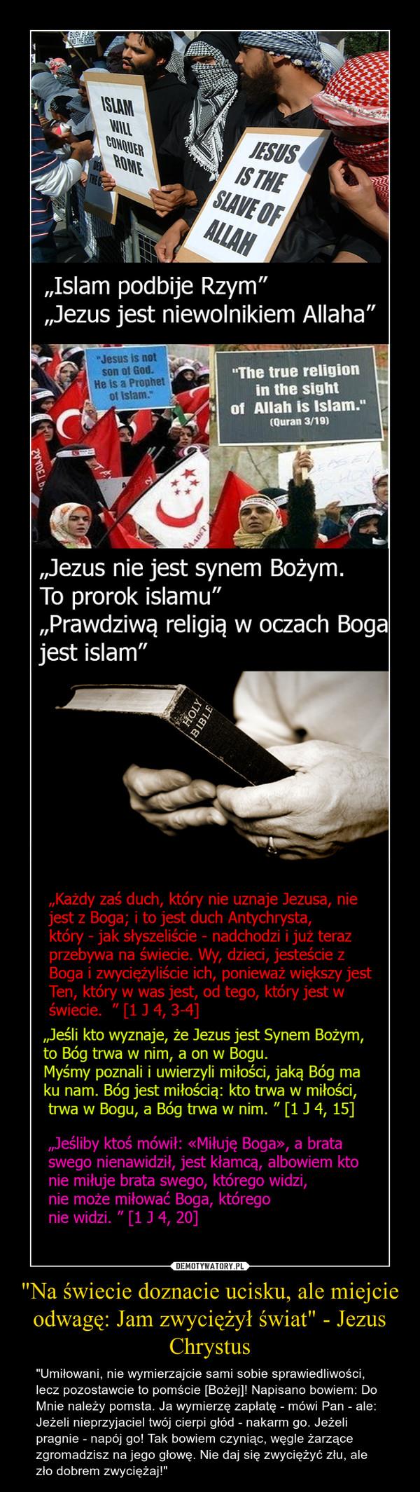 """""""Na świecie doznacie ucisku, ale miejcie odwagę: Jam zwyciężył świat"""" - Jezus Chrystus – """"Umiłowani, nie wymierzajcie sami sobie sprawiedliwości, lecz pozostawcie to pomście [Bożej]! Napisano bowiem: Do Mnie należy pomsta. Ja wymierzę zapłatę - mówi Pan - ale: Jeżeli nieprzyjaciel twój cierpi głód - nakarm go. Jeżeli pragnie - napój go! Tak bowiem czyniąc, węgle żarzące zgromadzisz na jego głowę. Nie daj się zwyciężyć złu, ale zło dobrem zwyciężaj!"""""""