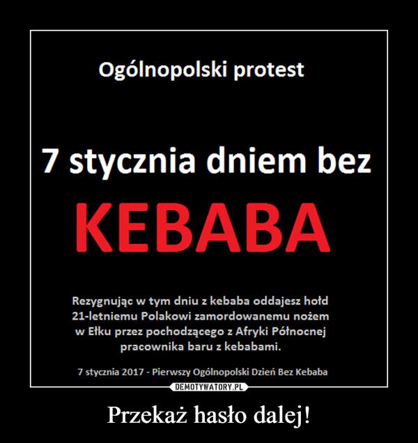 Przekaż hasło dalej! –  7 stycznia ogólnopolskim dniem bez kebaba! przekaż dalej protest