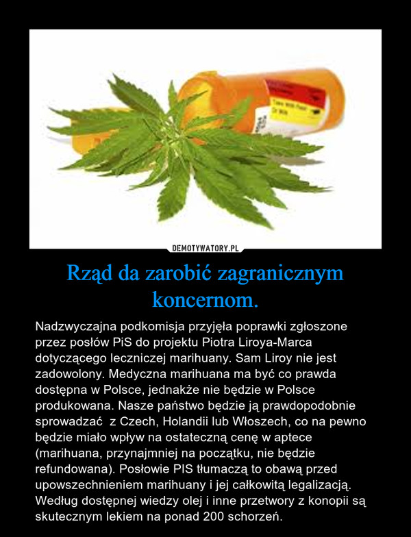 Rząd da zarobić zagranicznym koncernom. – Nadzwyczajna podkomisja przyjęła poprawki zgłoszone przez posłów PiS do projektu Piotra Liroya-Marca dotyczącego leczniczej marihuany. Sam Liroy nie jest zadowolony. Medyczna marihuana ma być co prawda dostępna w Polsce, jednakże nie będzie w Polsce produkowana. Nasze państwo będzie ją prawdopodobnie sprowadzać  z Czech, Holandii lub Włoszech, co na pewno będzie miało wpływ na ostateczną cenę w aptece (marihuana, przynajmniej na początku, nie będzie refundowana). Posłowie PIS tłumaczą to obawą przed upowszechnieniem marihuany i jej całkowitą legalizacją.Według dostępnej wiedzy olej i inne przetwory z konopii są skutecznym lekiem na ponad 200 schorzeń.