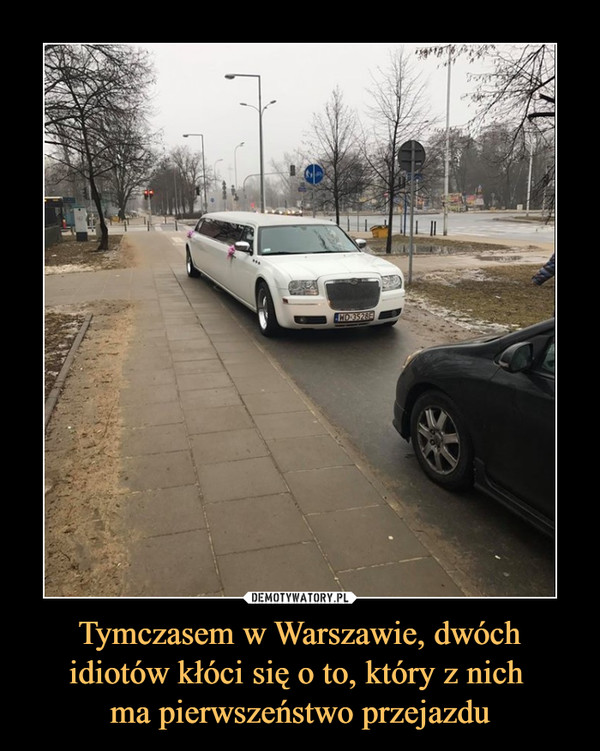 Tymczasem w Warszawie, dwóchidiotów kłóci się o to, który z nich ma pierwszeństwo przejazdu –