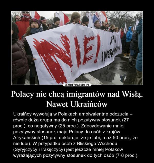 Polacy nie chcą imigrantów nad Wisłą. Nawet Ukraińców – Ukraińcy wywołują w Polakach ambiwalentne odczucia – równie duża grupa ma do nich pozytywny stosunek (27 proc.), co negatywny (25 proc.). Zdecydowanie mniej pozytywny stosunek mają Polacy do osób z krajów Afrykańskich (15 prc. deklaruje, że je lubi, a aż 50 proc., że nie lubi). W przypadku osób z Bliskiego Wschodu (Syryjczycy i Irakijczycy) jest jeszcze mniej Polaków wyrażających pozytywny stosunek do tych osób (7-8 proc.).