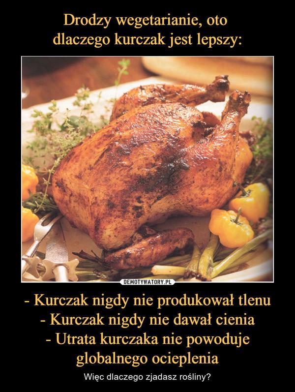 - Kurczak nigdy nie produkował tlenu- Kurczak nigdy nie dawał cienia- Utrata kurczaka nie powodujeglobalnego ocieplenia – Więc dlaczego zjadasz rośliny?