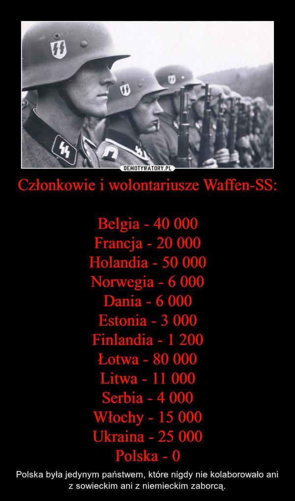 Członkowie i wolontariusze Waffen-SS:Belgia - 40 000Francja - 20 000Holandia - 50 000Norwegia - 6 000Dania - 6 000Estonia - 3 000Finlandia - 1 200Łotwa - 80 000Litwa - 11 000Serbia - 4 000Włochy - 15 000Ukraina - 25 000Polska - 0 – Polska była jedynym państwem, które nigdy nie kolaborowało ani z sowieckim ani z niemieckim zaborcą.