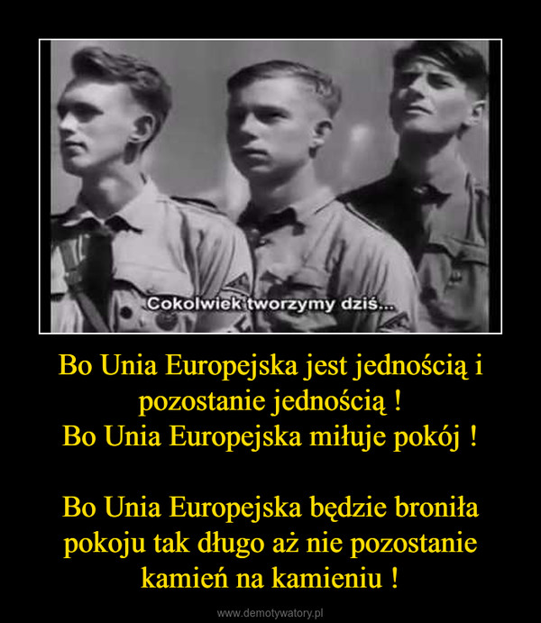 Bo Unia Europejska jest jednością i pozostanie jednością !Bo Unia Europejska miłuje pokój !Bo Unia Europejska będzie broniła pokoju tak długo aż nie pozostanie kamień na kamieniu ! –
