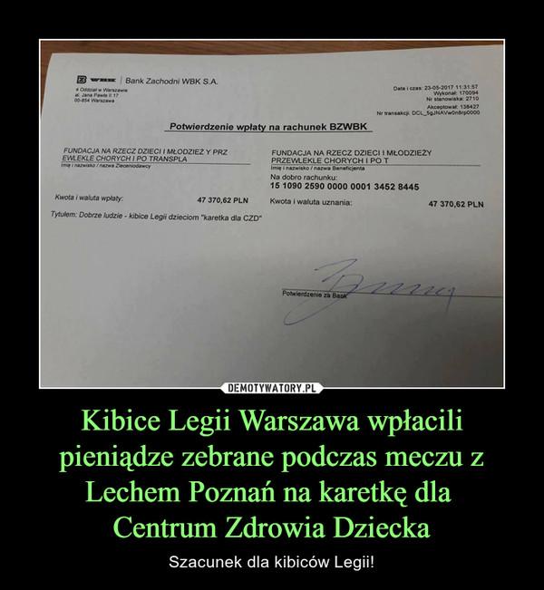 Kibice Legii Warszawa wpłacili pieniądze zebrane podczas meczu z Lechem Poznań na karetkę dla Centrum Zdrowia Dziecka – Szacunek dla kibiców Legii!