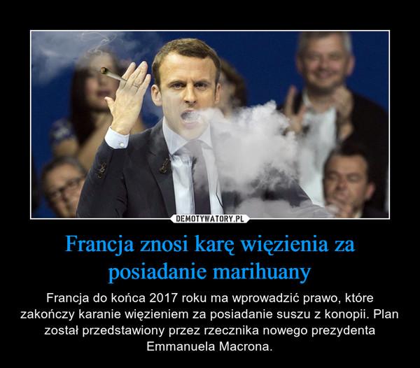 Francja znosi karę więzienia za posiadanie marihuany – Francja do końca 2017 roku ma wprowadzić prawo, które zakończy karanie więzieniem za posiadanie suszu z konopii. Plan został przedstawiony przez rzecznika nowego prezydenta Emmanuela Macrona.
