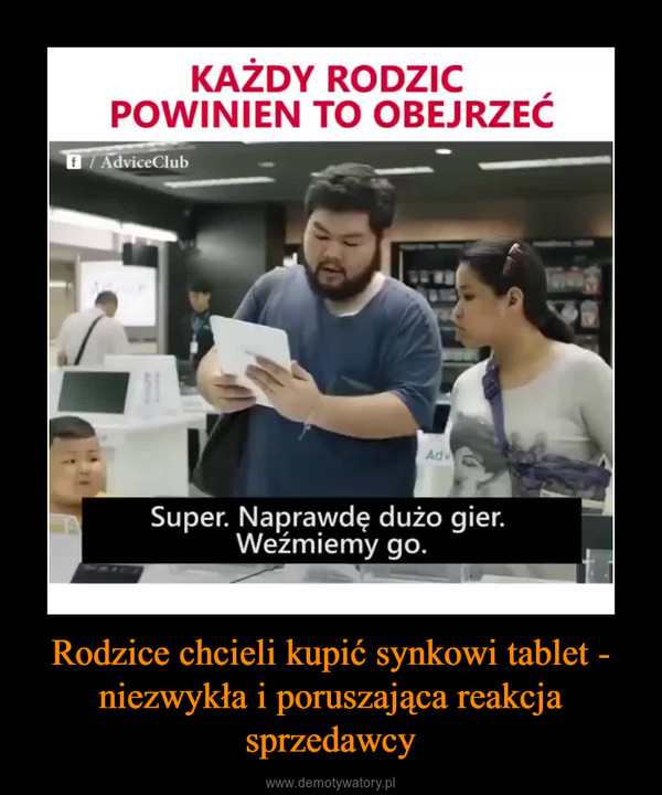 Rodzice chcieli kupić synkowi tablet - niezwykła i poruszająca reakcja sprzedawcy –  Każdy rodzic powinien to obejrzeć