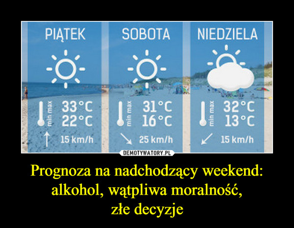 Prognoza na nadchodzący weekend:alkohol, wątpliwa moralność,złe decyzje –