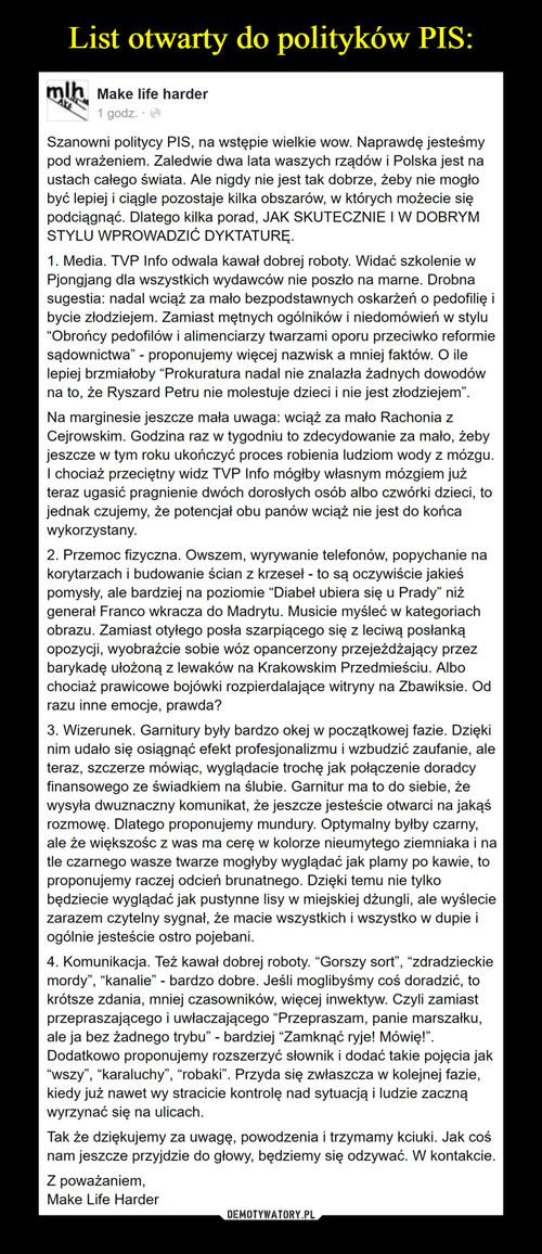 List otwarty do polityków PIS:
