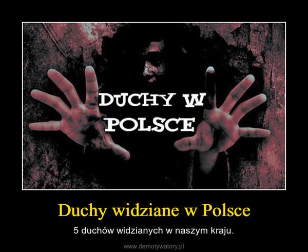Duchy widziane w Polsce – 5 duchów widzianych w naszym kraju.