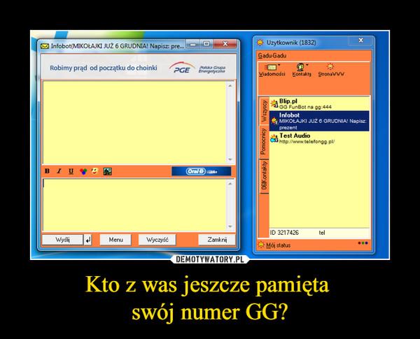 Kto z was jeszcze pamięta swój numer GG? –