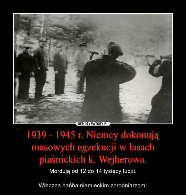 1939 - 1945 r. Niemcy dokonują masowych egzekucji w lasach piaśnickich k. Wejherowa. – Mordują od 12 do 14 tysięcy ludzi.Wieczna hańba niemieckim zbrodniarzom!