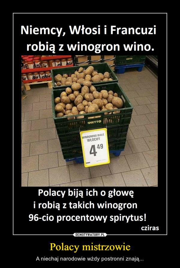 Polacy mistrzowie – A niechaj narodowie wżdy postronni znają... Niemcy, Włosi i Francuzirobią z winogron wino.Polacy biją ich o głowęi robią z takich winogron96-cio procentowy spirytus!