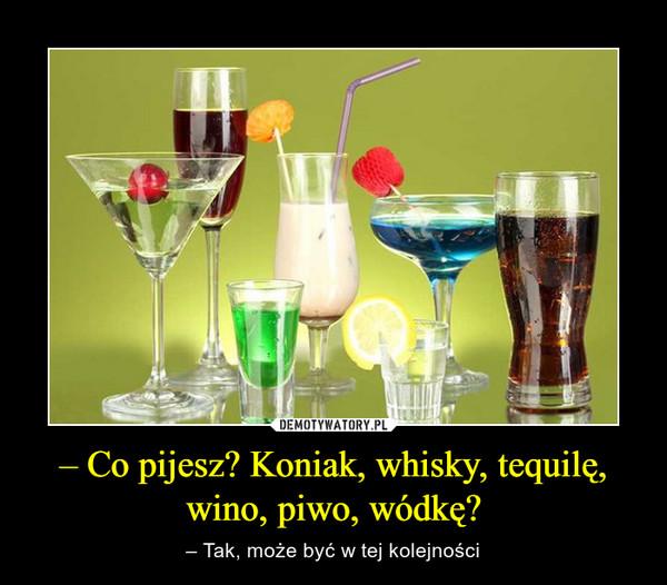 – Co pijesz? Koniak, whisky, tequilę, wino, piwo, wódkę? – – Tak, może być w tej kolejności