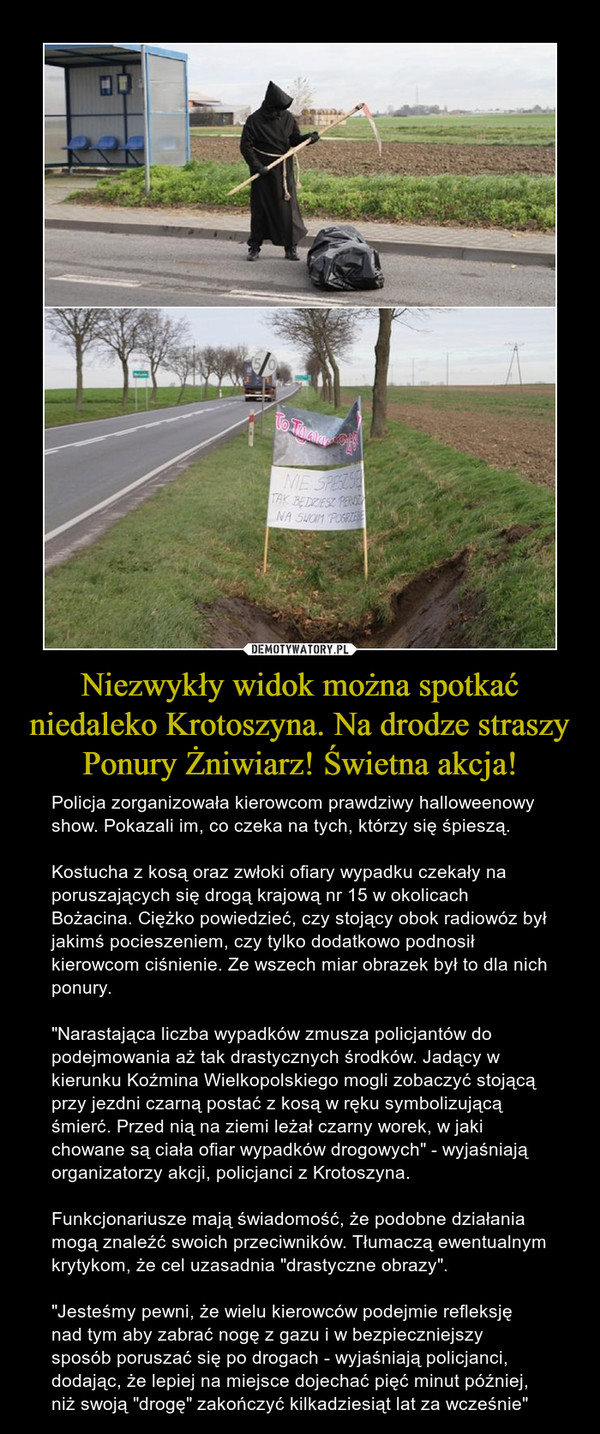 """Niezwykły widok można spotkać niedaleko Krotoszyna. Na drodze straszy Ponury Żniwiarz! Świetna akcja! – Policja zorganizowała kierowcom prawdziwy halloweenowy show. Pokazali im, co czeka na tych, którzy się śpieszą.Kostucha z kosą oraz zwłoki ofiary wypadku czekały na poruszających się drogą krajową nr 15 w okolicach Bożacina. Ciężko powiedzieć, czy stojący obok radiowóz był jakimś pocieszeniem, czy tylko dodatkowo podnosił kierowcom ciśnienie. Ze wszech miar obrazek był to dla nich ponury.""""Narastająca liczba wypadków zmusza policjantów do podejmowania aż tak drastycznych środków. Jadący w kierunku Koźmina Wielkopolskiego mogli zobaczyć stojącą przy jezdni czarną postać z kosą w ręku symbolizującą śmierć. Przed nią na ziemi leżał czarny worek, w jaki chowane są ciała ofiar wypadków drogowych"""" - wyjaśniają organizatorzy akcji, policjanci z Krotoszyna.Funkcjonariusze mają świadomość, że podobne działania mogą znaleźć swoich przeciwników. Tłumaczą ewentualnym krytykom, że cel uzasadnia """"drastyczne obrazy"""".""""Jesteśmy pewni, że wielu kierowców podejmie refleksję nad tym aby zabrać nogę z gazu i w bezpieczniejszy sposób poruszać się po drogach - wyjaśniają policjanci, dodając, że lepiej na miejsce dojechać pięć minut później, niż swoją """"drogę"""" zakończyć kilkadziesiąt lat za wcześnie"""""""