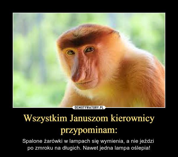 Wszystkim Januszom kierownicy przypominam: – Spalone żarówki w lampach się wymienia, a nie jeździ po zmroku na długich. Nawet jedna lampa oślepia!