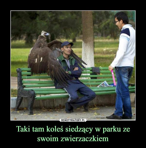 Taki tam koleś siedzący w parku ze swoim zwierzaczkiem –